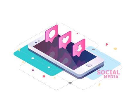Ilustración de Isometric concept with mobile phone and push notification with likes, new comments, messages and followers. Set of social media notification with appreciation. - Imagen libre de derechos