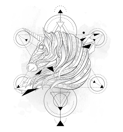 Illustration pour Patterned head of the unicorn with geometry on the grunge background. Space horse. Tattoo design. It may be used for design of a t-shirt, bag, postcard, a poster, coloring book and so on. - image libre de droit