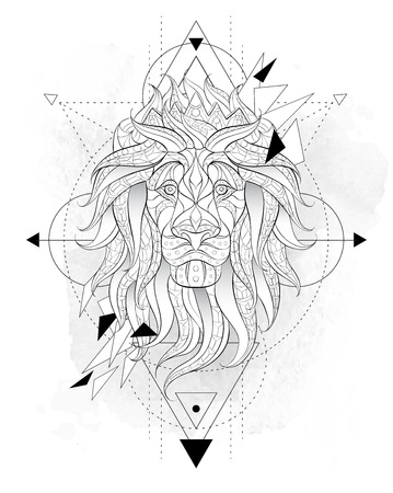 Illustration pour Patterned head of the lion with geometry on the grunge background. Leo with crown. African,  indian, totem, tattoo design. It may be used for design of a t-shirt, bag, postcard, a poster and so on. - image libre de droit