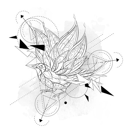 Illustration pour Patterned flying bird with geometry on the grunge background. Poster with little bird. Tattoo design. It may be used for design of a t-shirt, bag, postcard, a poster and so on. - image libre de droit
