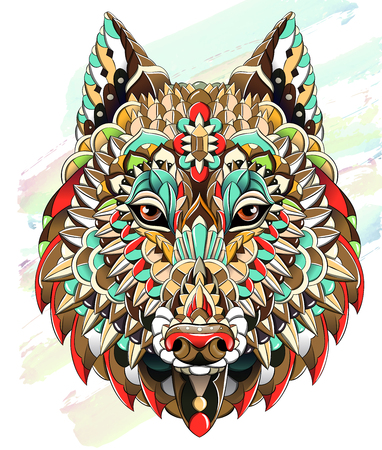 Illustration for Patterned head of  the wolf on the grunge background. Dog. Tattoo design. It may be used for design of a t-shirt, bag, postcard, a poster and so on. - Royalty Free Image