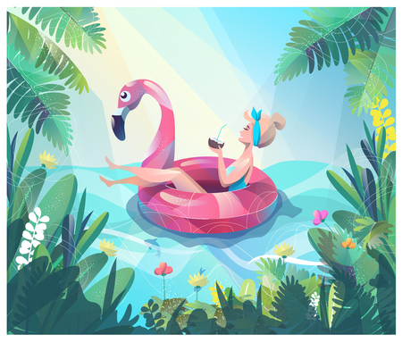 Ilustración de Concept in flat style with woman floating with circle. Vacation and relaxion. Sunbathing. Vector illustration. - Imagen libre de derechos