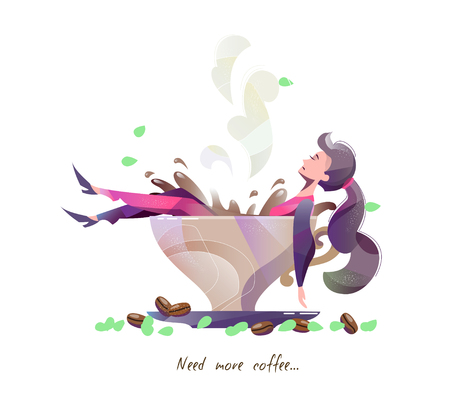 Illustration for Concept in flat style with woman lying in big cup of coffee. Coffee addiction. Vector illustration. - Royalty Free Image