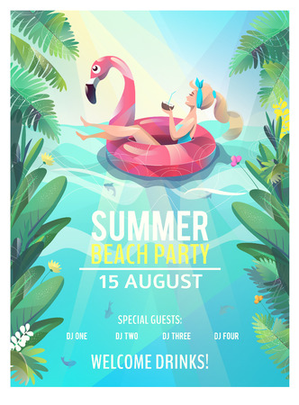 Illustration pour Concept in flat style. Summer beach party poster. Woman floats with circle. Vector illustration. - image libre de droit