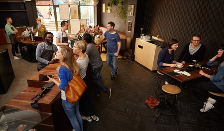 Photo pour High angle shot of a modern coffee shop with space and stylish decor - image libre de droit