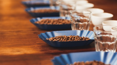 Foto de Row of blue containers with fresh roatsed coffee beans alongside coffee cups and water glasses on a wooden table ready for a tasting - Imagen libre de derechos
