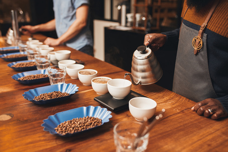 Foto de Cropped shot of a people at a wooden table set out with neat rows of open containers of roasted coffee beans, training to become professional baristas while pouring water into cups of ground coffee - Imagen libre de derechos
