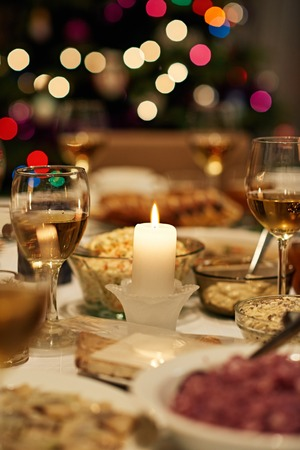 Photo for Dining table set for Christmas feast - Royalty Free Image
