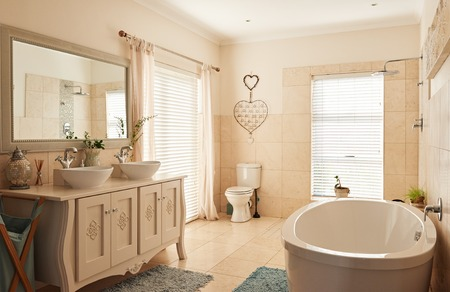 Photo for Interior of a spacious classically styled bathroom - Royalty Free Image