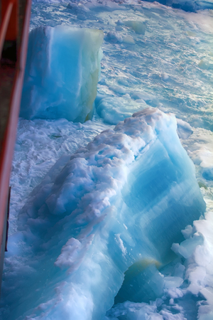 Photo for Nuclear-powered icebreaker solivet powerful first-year ice on way to North pole, 89 degrees 2016 - Royalty Free Image