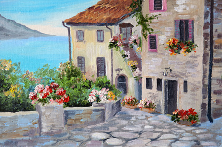 Photo pour Oil painting on canvas of a beautiful houses near the sea, architecture, city, colorful - image libre de droit