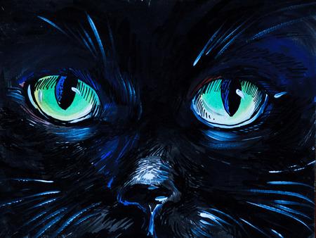 watercolor painting - cat eyes,  black, card, clip