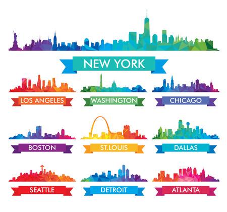 Illustration pour City skyline of America Colorful  - image libre de droit