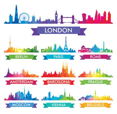 Illustration pour City skyline of Europe Colorful  - image libre de droit