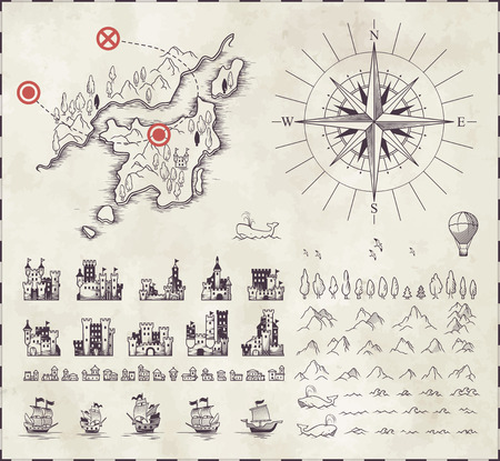 Illustration for Set in medieval cartography - Royalty Free Image