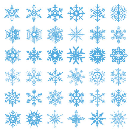 Illustrazione per collection of 36 snowflakes vector - Immagini Royalty Free