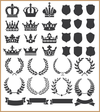 Illustration pour Wreaths and crowns - image libre de droit