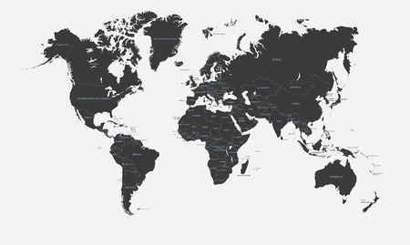 Illustrazione per Black and white political map of the world vector - Immagini Royalty Free
