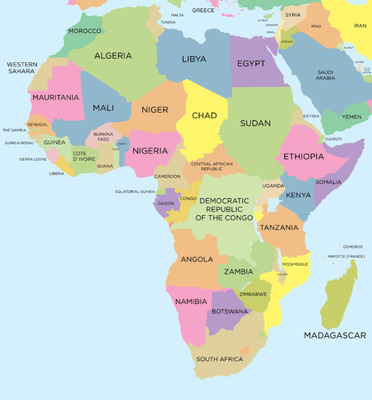 Illustration pour Coloured political map of Africa - image libre de droit