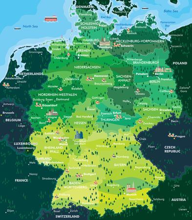 Illustration pour map germany - image libre de droit