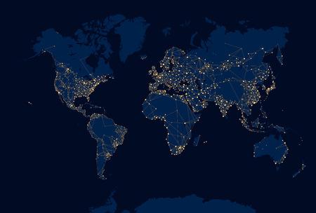 Illustration pour Abstract Night World Map - image libre de droit