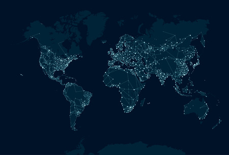 Foto per Communications network map of the world - Immagine Royalty Free