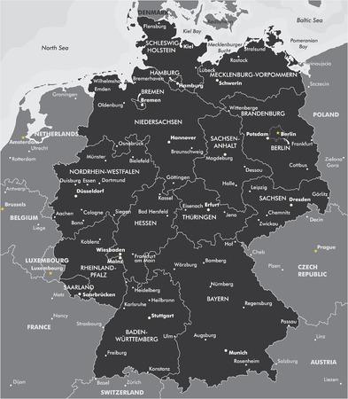 Illustration pour Black and white map of Germany - image libre de droit