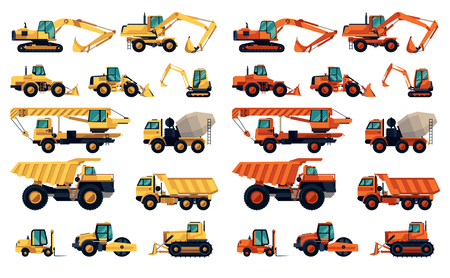 Illustration pour Flat design set of construction machinery and equipment - image libre de droit