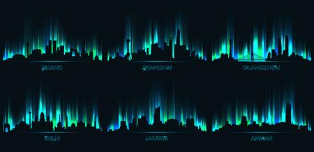 Illustration pour Neon city skyline, Beijing, Shanghai, Guangzhou, Delhi, Jakarta, Amman - image libre de droit