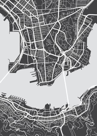 Illustration pour Vector detailed map Hong Kong - image libre de droit