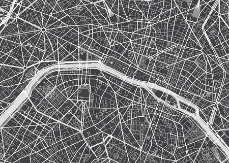 Illustration pour Vector detailed map Paris - image libre de droit