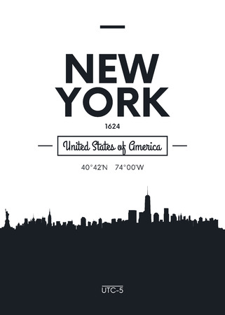 Illustration for Poster city skyline New York, Flat style vector illustration - Royalty Free Image