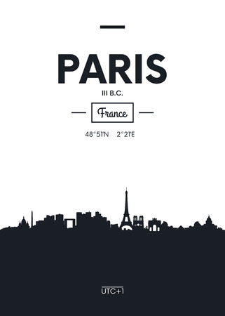 Illustration for Poster city skyline Paris, Flat style vector illustration - Royalty Free Image