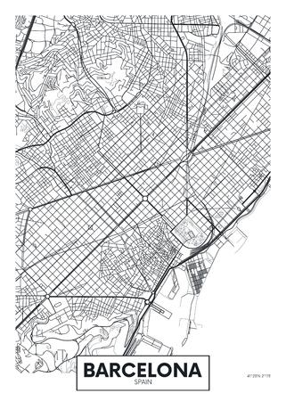 Illustration pour Vector poster map city Barcelona. - image libre de droit