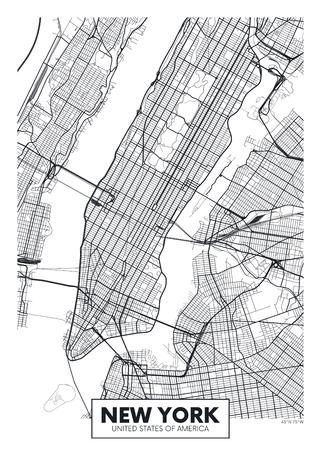 Illustration pour Vector poster map city New York - image libre de droit