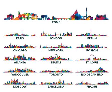 Illustration pour Geometric pattern skyline city America and Europe - image libre de droit