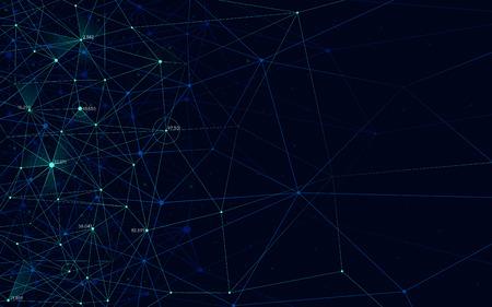 Illustration pour Analytical network, polygonal structure with lines mesh, modern technology element, vector illustration - image libre de droit