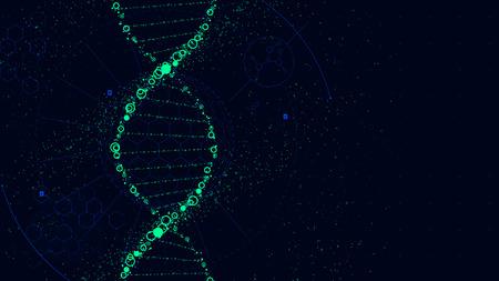 Illustration pour DNA molecule structure, Futuristic Sci-Fi interface, vector background - image libre de droit