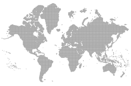 Illustration pour Dotted detailed map of the world vector silhouette - image libre de droit