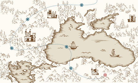 Illustration pour Medieval cartography, old pirate treasure map, vector illustration - image libre de droit
