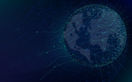 Illustration pour Sci-fi futuristic technologies, global network with world map, abstract vector infinite space background - image libre de droit