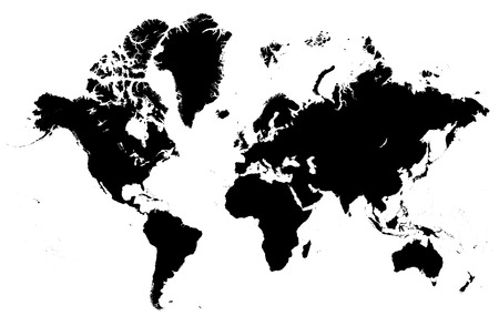 Ilustración de Detailed map of the world vector silhouette - Imagen libre de derechos