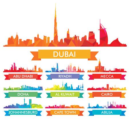 Illustration pour Colorful skyline The Arabian Peninsula and Africa - image libre de droit