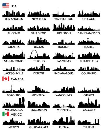 Illustration pour City skyline North America - image libre de droit