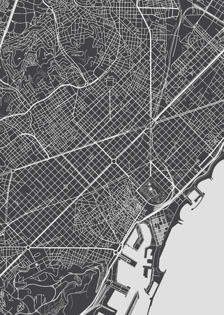 Illustration for Barcelona city plan, detailed vector map - Royalty Free Image