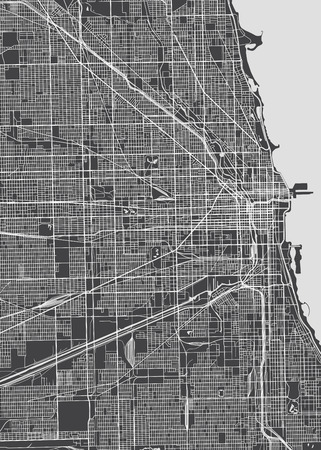 Illustration pour Chicago city plan, detailed vector map - image libre de droit