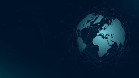 Illustration pour World map global network connection, technology futuristic plexus vector background. - image libre de droit