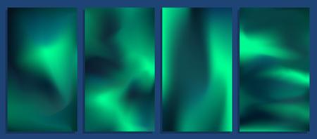 Ilustración de Vivid blurred holographic gradient backgrounds, vector colorful posters - Imagen libre de derechos