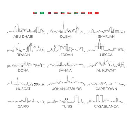 Illustration pour Arabian Peninsula and Africa skyline city line art, vector Illustration design - image libre de droit