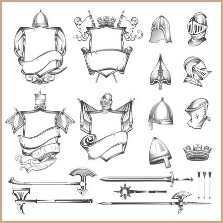 Illustration for Collection of vector heraldic elements, helmets and medieval weapons - Royalty Free Image